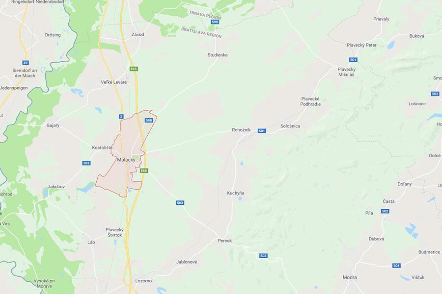 Zoznam obcí a miest prispievajúcich na záujmové vzdelávanie Malacky